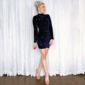 AmandaRSowards Dresses - Navy Velvet Sequin Long Sleeve Mini Dress